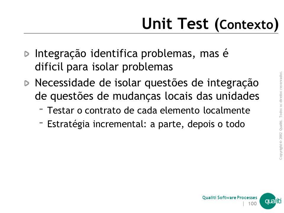 Unit Test (Contexto) Integração identifica problemas, mas é dificil para isolar problemas.