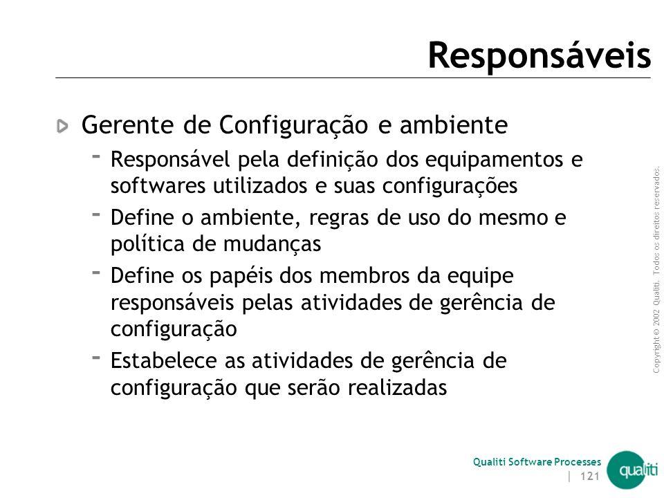 Responsáveis Gerente de Configuração e ambiente