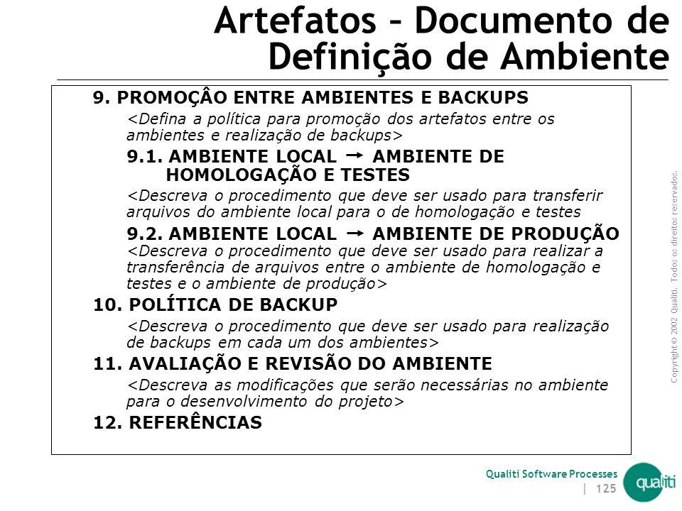 Artefatos – Documento de Definição de Ambiente