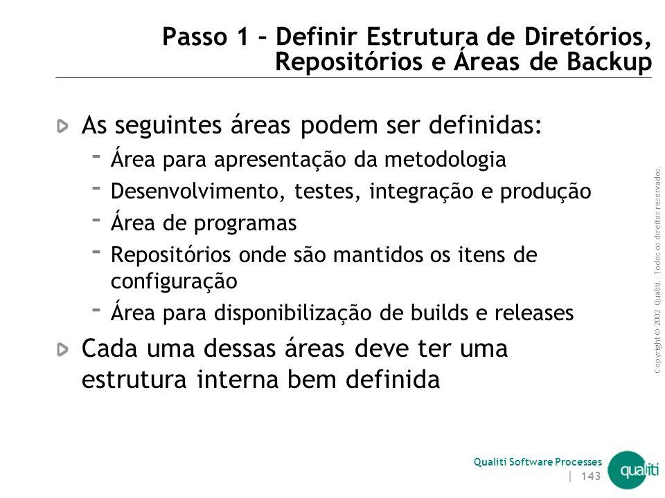 As seguintes áreas podem ser definidas: