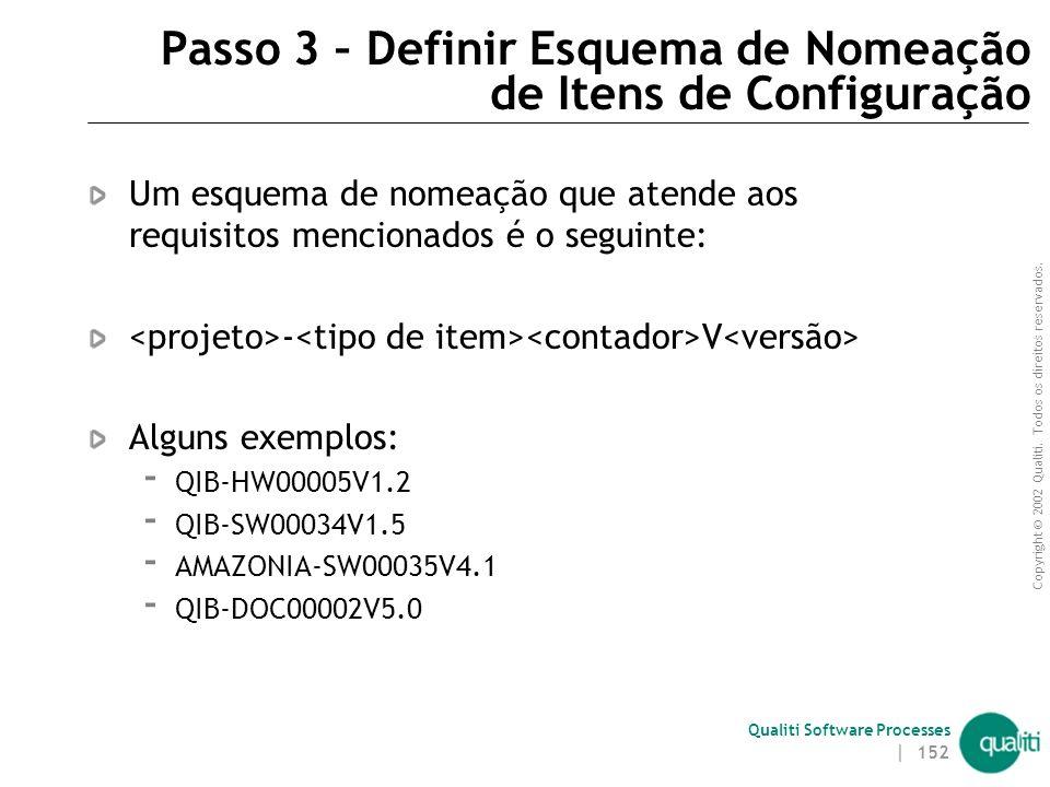 Passo 3 – Definir Esquema de Nomeação de Itens de Configuração