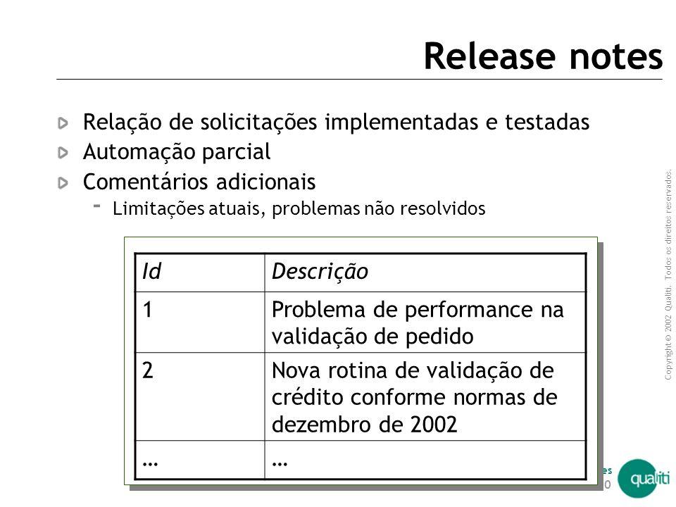 Release notes Relação de solicitações implementadas e testadas
