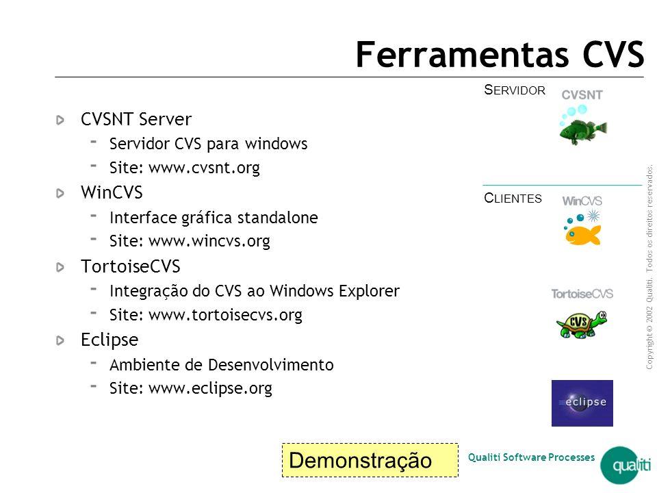 Ferramentas CVS Demonstração CVSNT Server WinCVS TortoiseCVS Eclipse