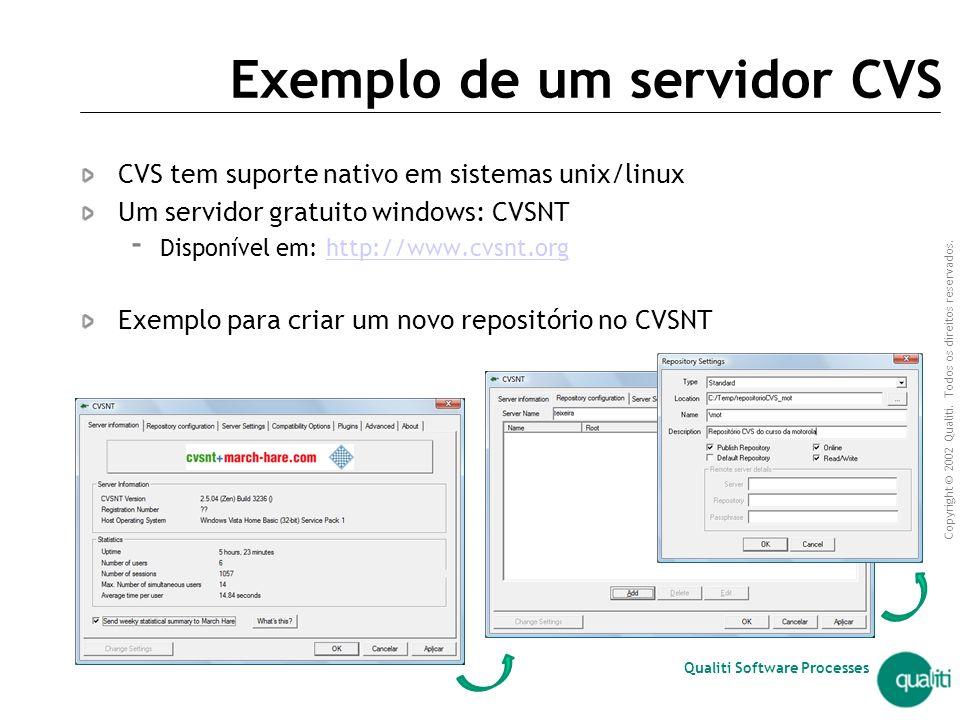Exemplo de um servidor CVS
