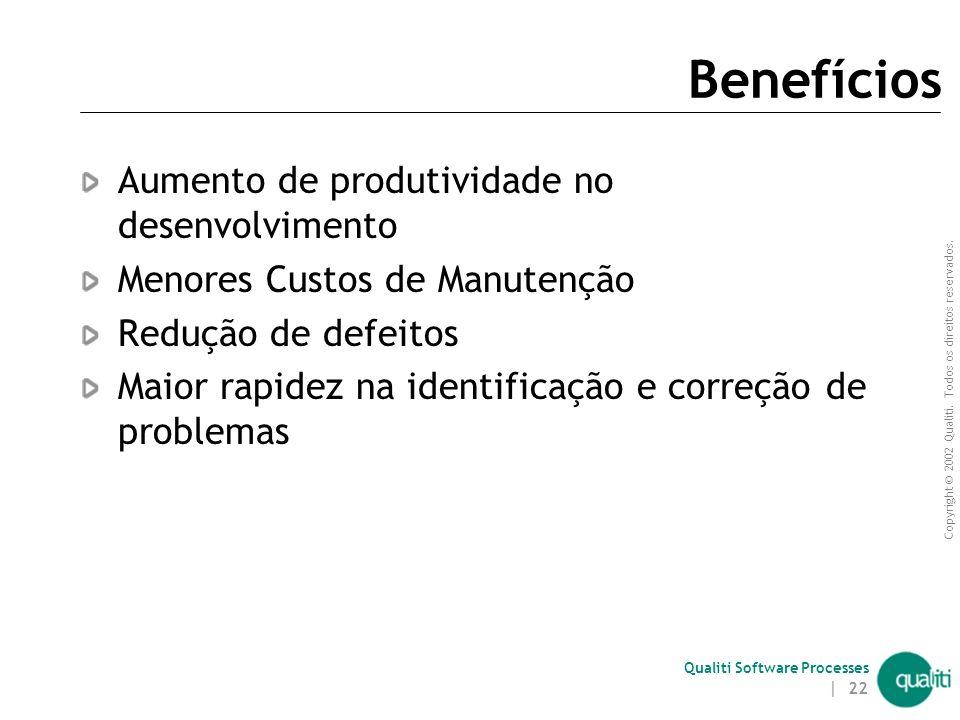 Benefícios Aumento de produtividade no desenvolvimento