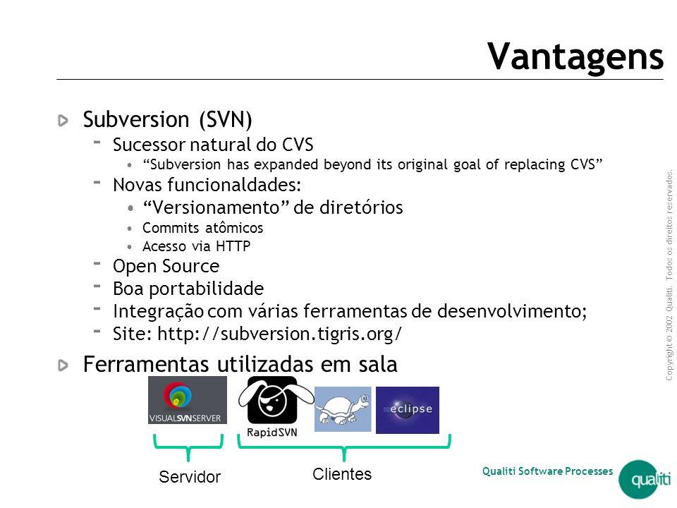 Vantagens Subversion (SVN) Ferramentas utilizadas em sala