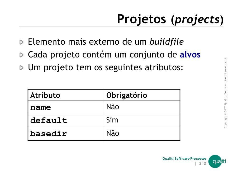 Projetos (projects) Elemento mais externo de um buildfile