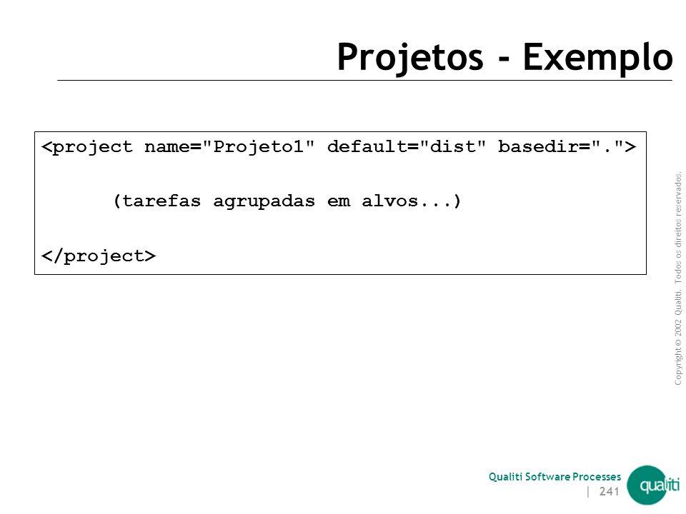 Projetos - Exemplo <project name= Projeto1 default= dist basedir= . > (tarefas agrupadas em alvos...)