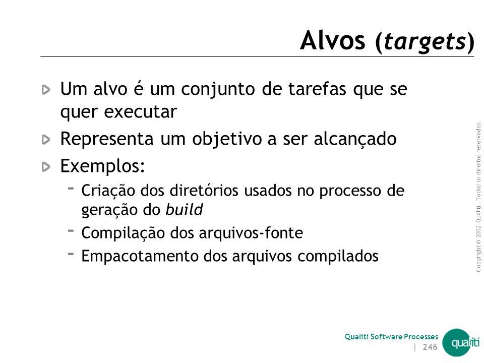 Alvos (targets) Um alvo é um conjunto de tarefas que se quer executar