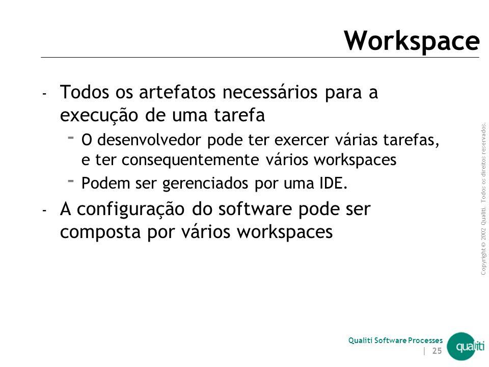 Workspace Todos os artefatos necessários para a execução de uma tarefa