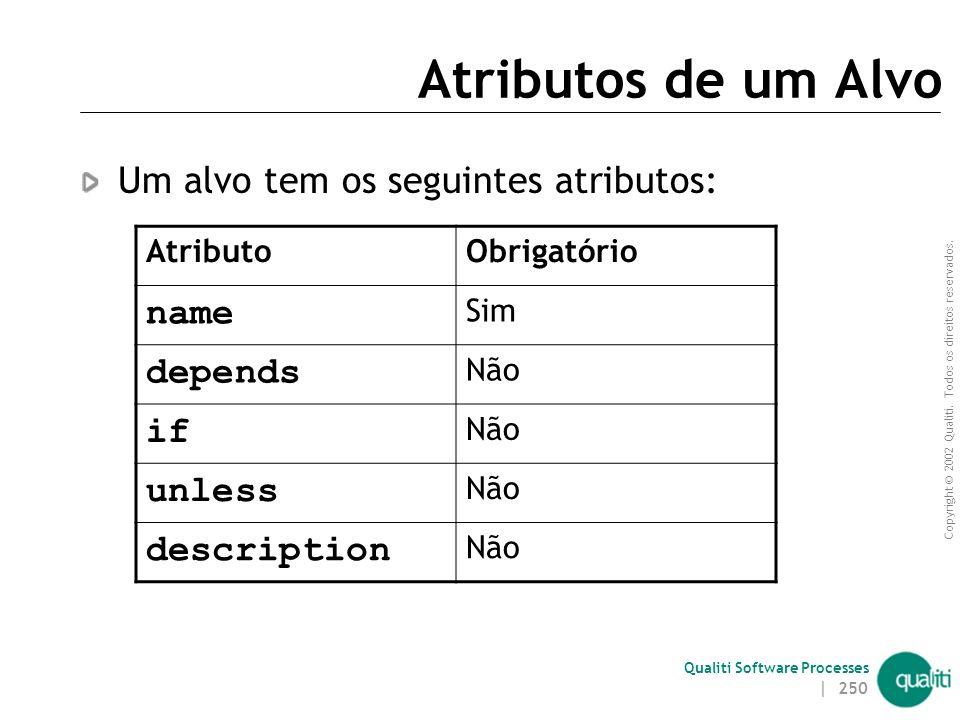 Atributos de um Alvo name Um alvo tem os seguintes atributos: depends