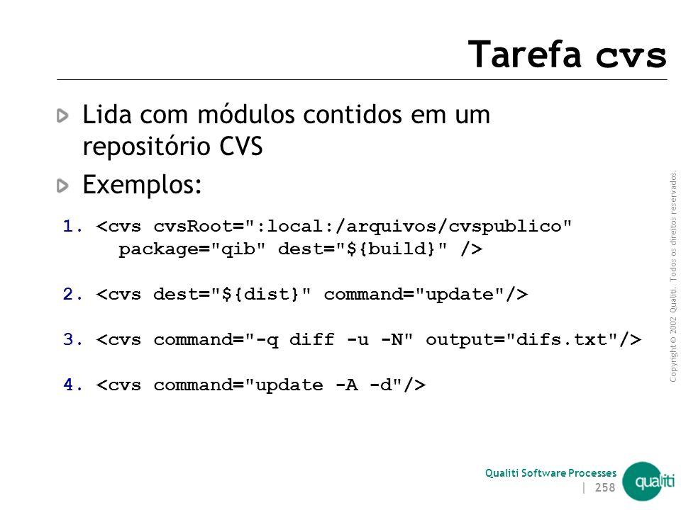 Tarefa cvs Lida com módulos contidos em um repositório CVS Exemplos: