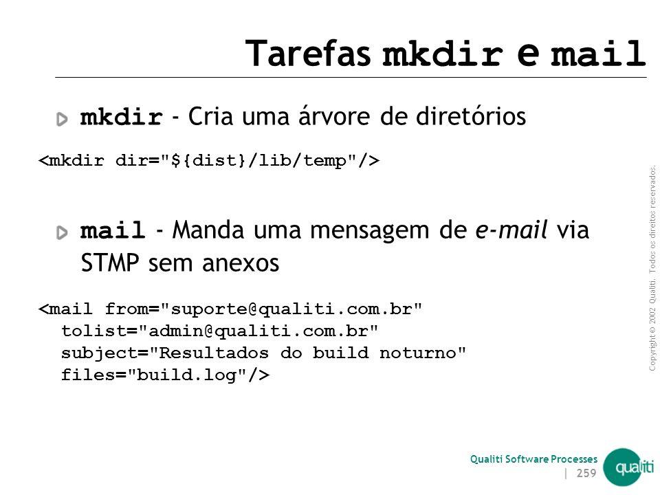 Tarefas mkdir e mail mkdir - Cria uma árvore de diretórios