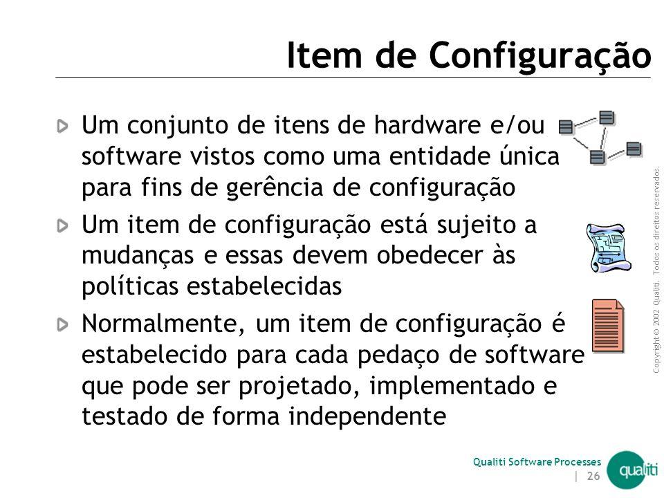 Item de Configuração Um conjunto de itens de hardware e/ou software vistos como uma entidade única para fins de gerência de configuração.