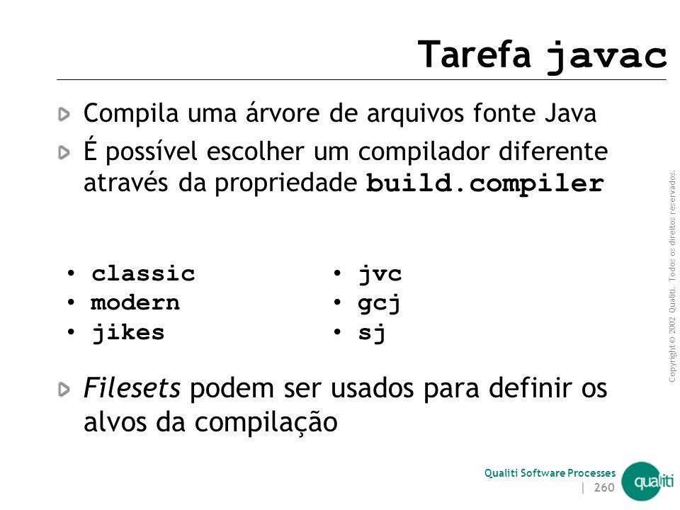 Tarefa javac Compila uma árvore de arquivos fonte Java. É possível escolher um compilador diferente através da propriedade build.compiler.