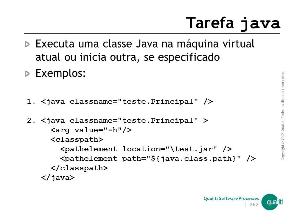 Tarefa java Executa uma classe Java na máquina virtual atual ou inicia outra, se especificado. Exemplos: