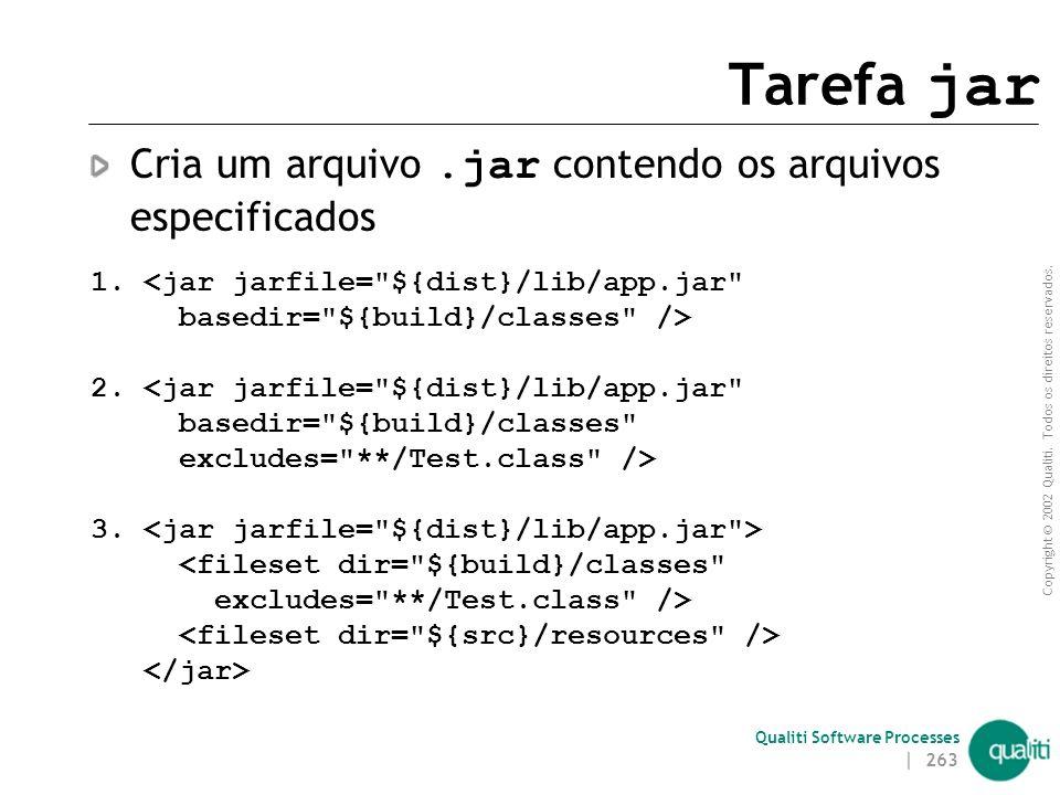 Tarefa jar Cria um arquivo .jar contendo os arquivos especificados
