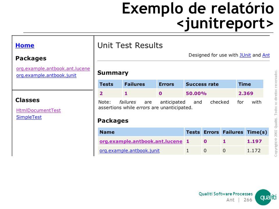 Exemplo de relatório <junitreport>