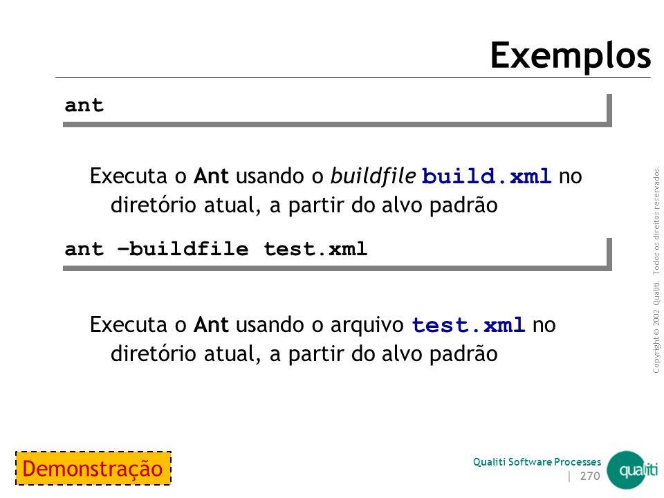 Exemplos ant. Executa o Ant usando o buildfile build.xml no diretório atual, a partir do alvo padrão.