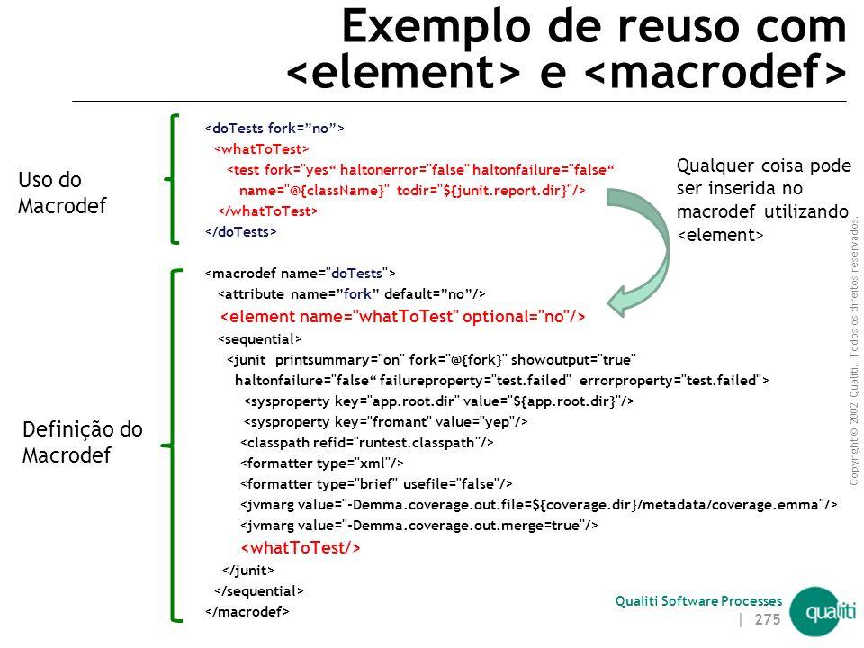 Exemplo de reuso com <element> e <macrodef>