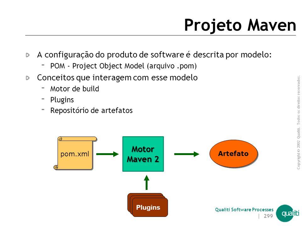 Projeto Maven A configuração do produto de software é descrita por modelo: POM - Project Object Model (arquivo .pom)