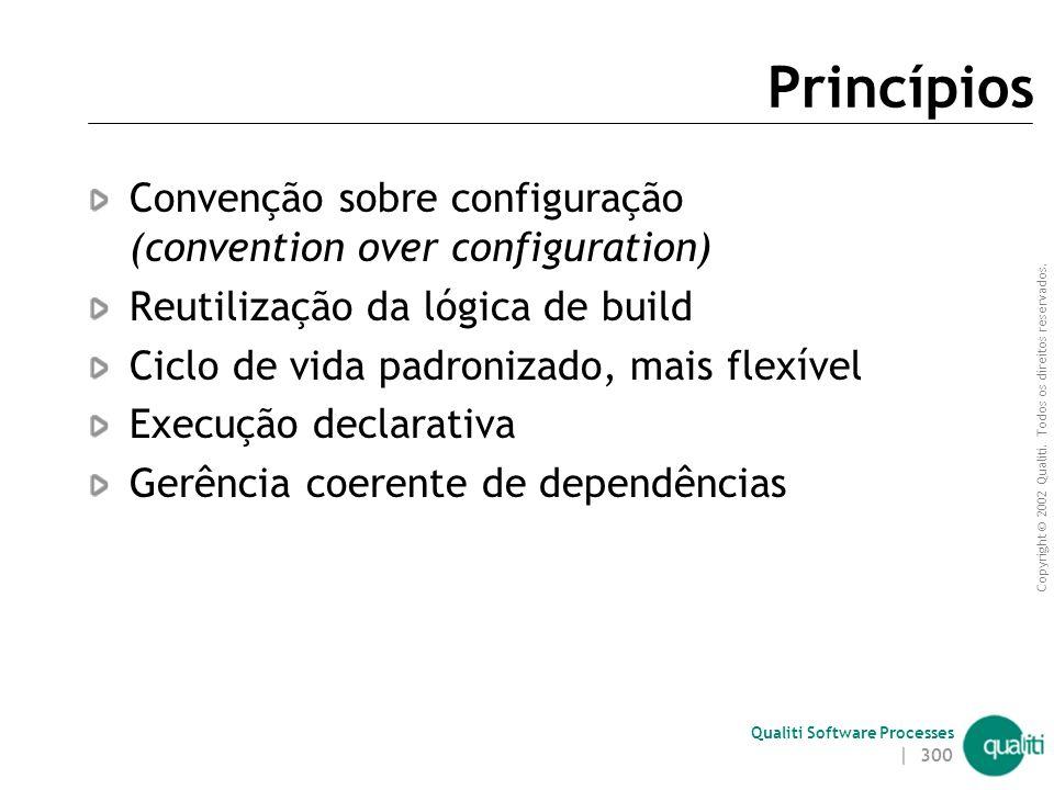 Princípios Convenção sobre configuração (convention over configuration) Reutilização da lógica de build.