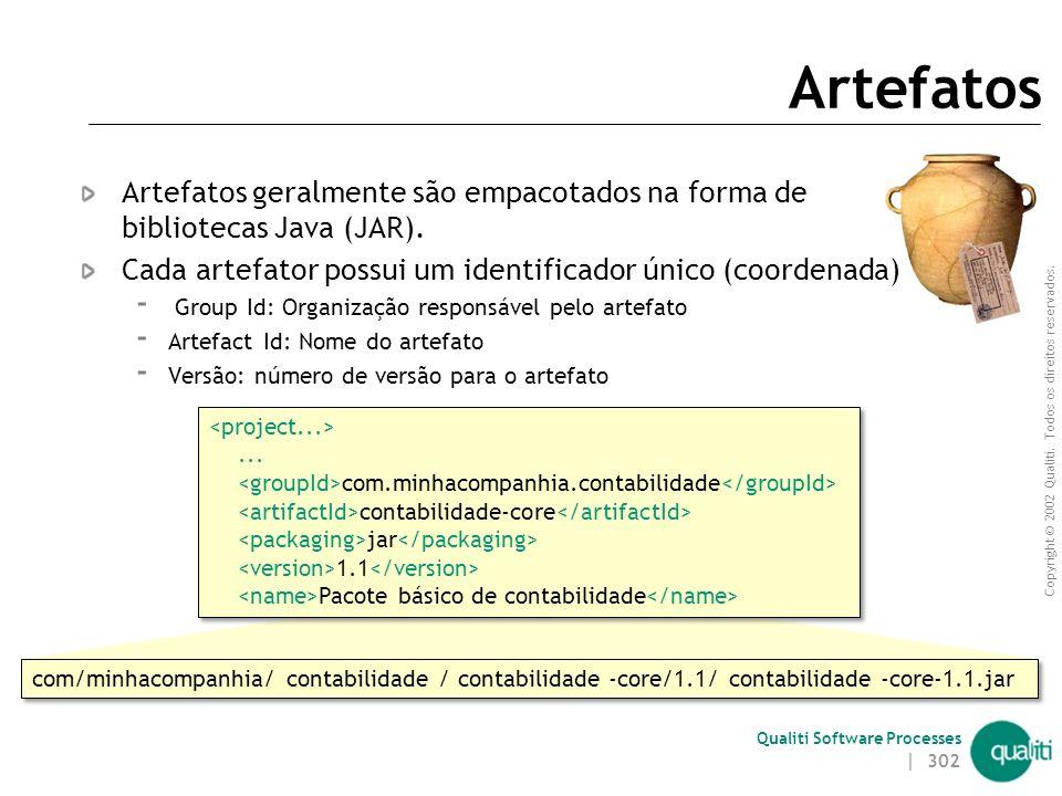Artefatos Artefatos geralmente são empacotados na forma de bibliotecas Java (JAR). Cada artefator possui um identificador único (coordenada)