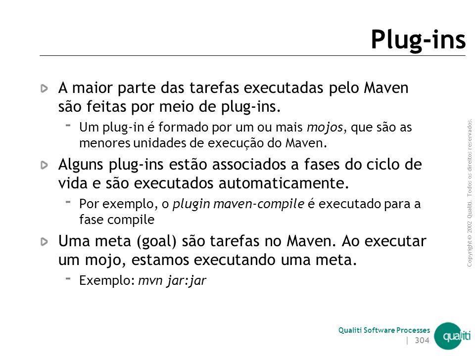 Plug-ins A maior parte das tarefas executadas pelo Maven são feitas por meio de plug-ins.