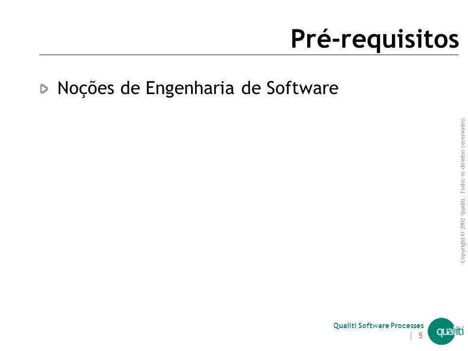 Pré-requisitos Noções de Engenharia de Software Introdução