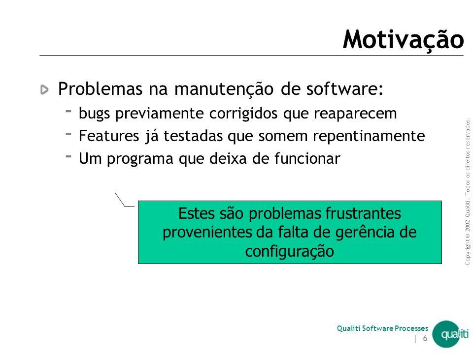 Motivação Problemas na manutenção de software: