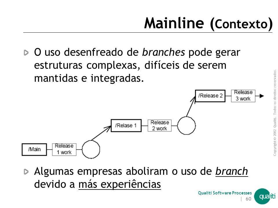 Mainline (Contexto) O uso desenfreado de branches pode gerar estruturas complexas, difíceis de serem mantidas e integradas.