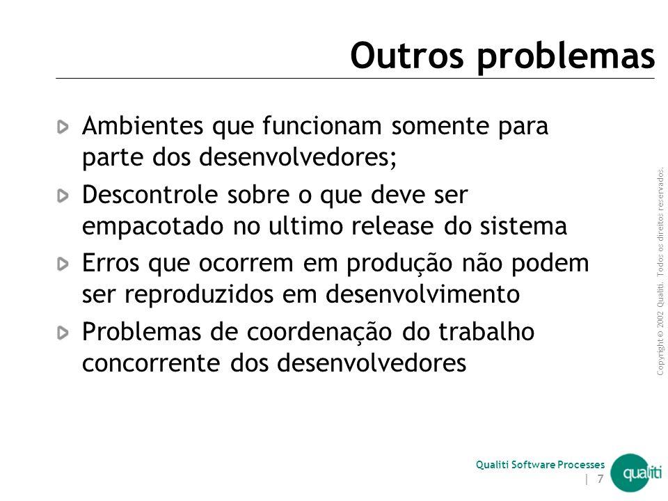 Outros problemas Ambientes que funcionam somente para parte dos desenvolvedores;