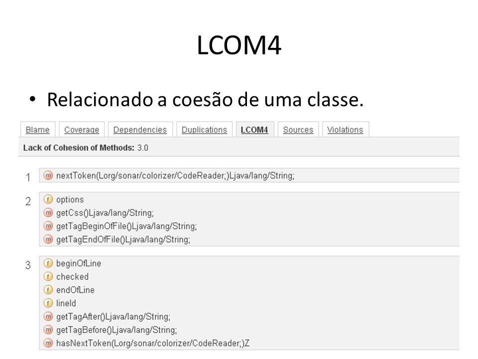 LCOM4 Relacionado a coesão de uma classe.