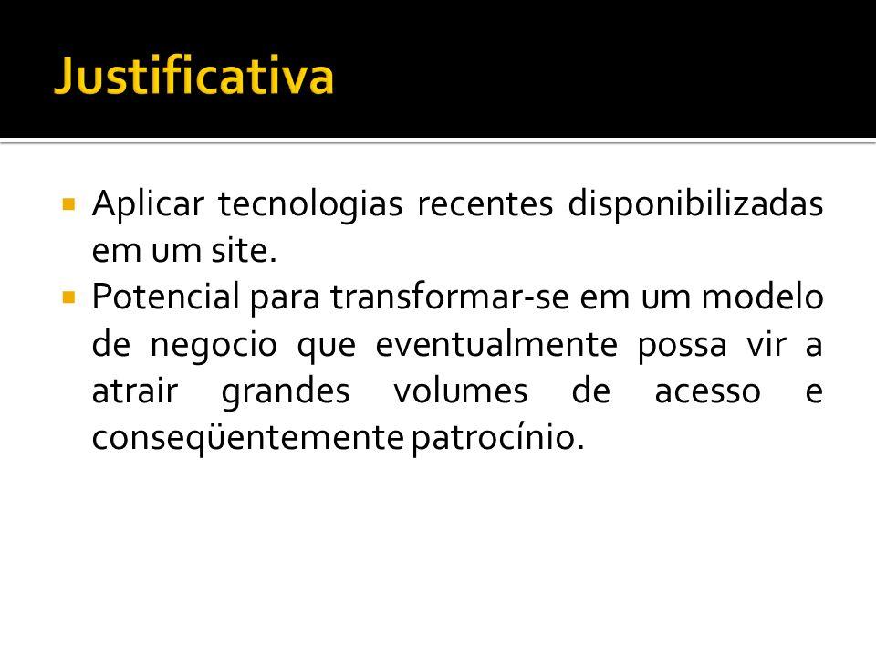 Justificativa Aplicar tecnologias recentes disponibilizadas em um site.