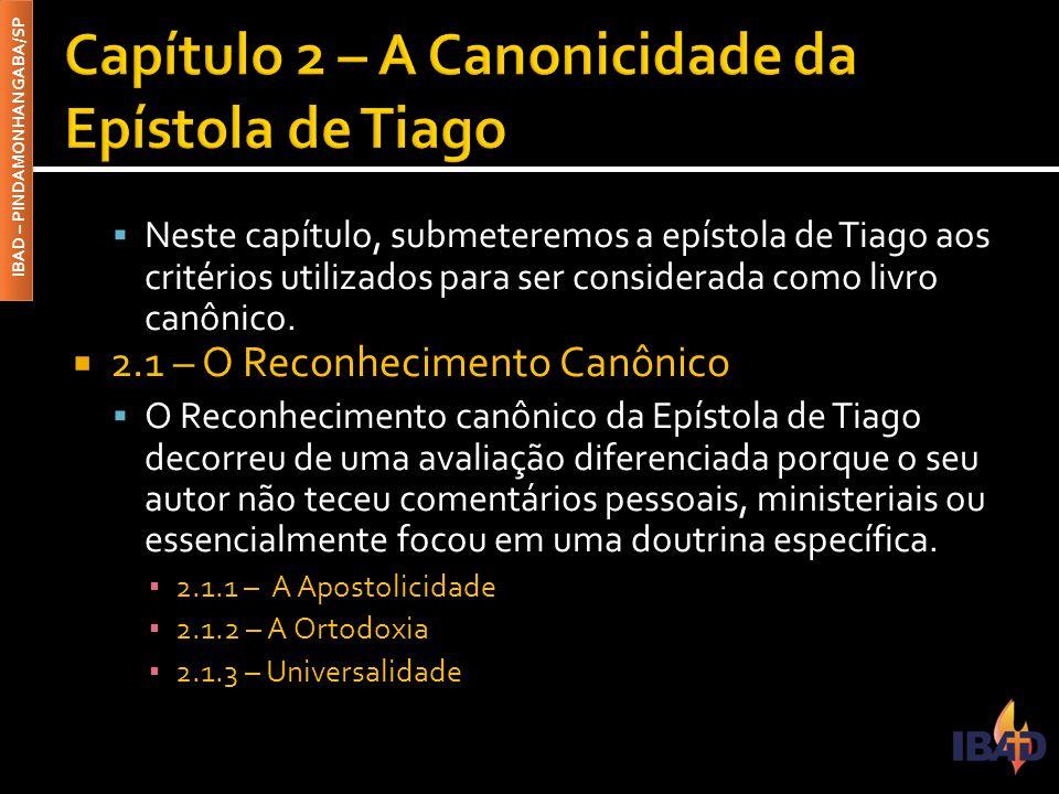 Capítulo 2 – A Canonicidade da Epístola de Tiago