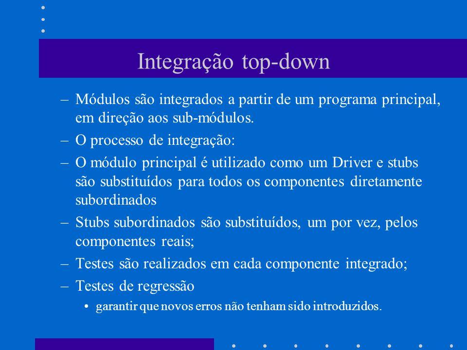 Integração top-down Módulos são integrados a partir de um programa principal, em direção aos sub-módulos.