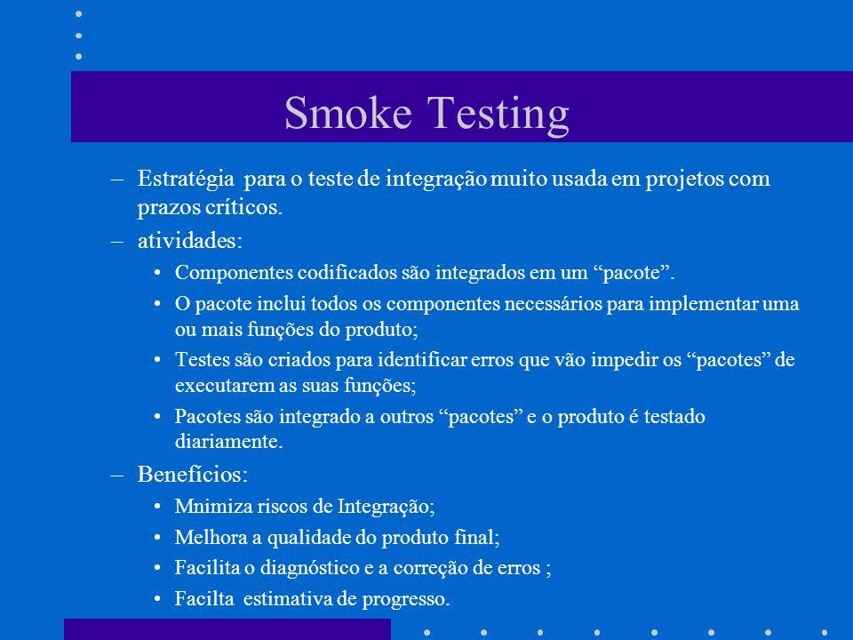 Smoke Testing Estratégia para o teste de integração muito usada em projetos com prazos críticos. atividades: