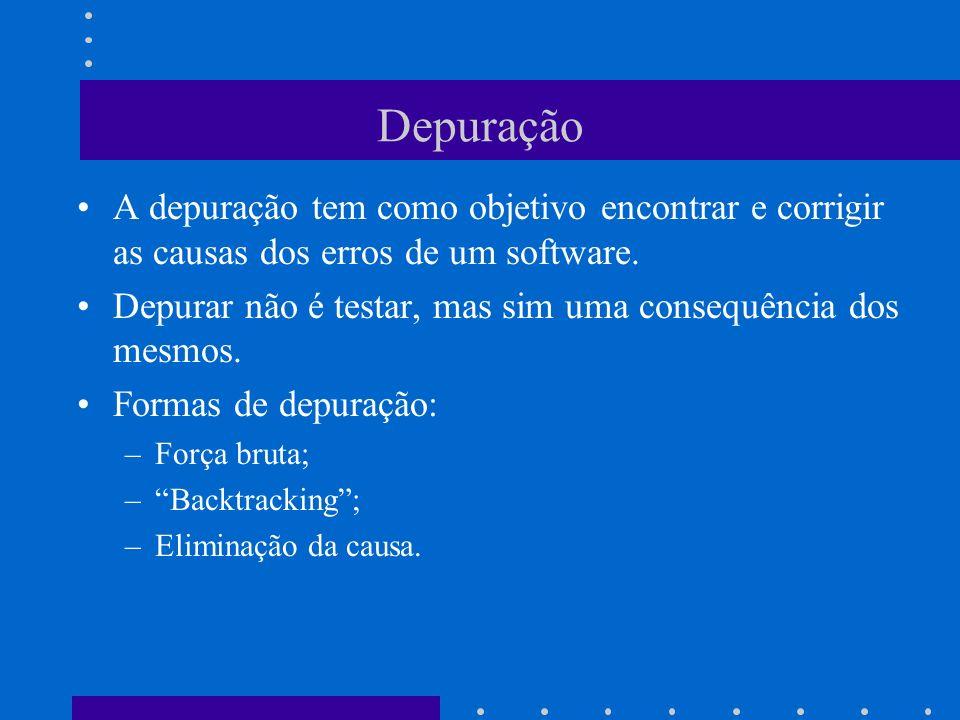 Depuração A depuração tem como objetivo encontrar e corrigir as causas dos erros de um software.