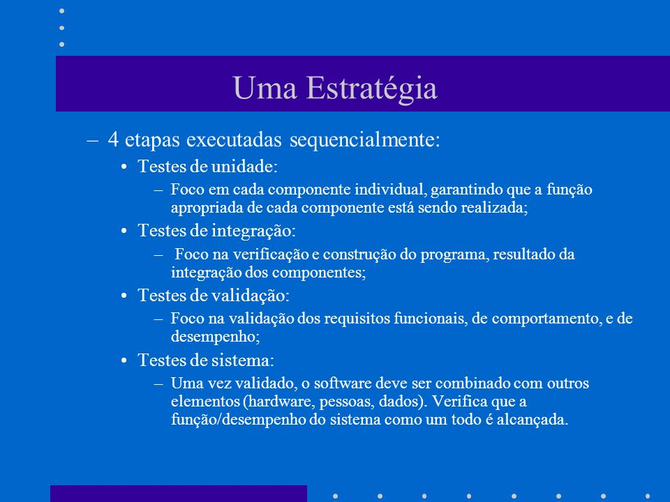 Uma Estratégia 4 etapas executadas sequencialmente: Testes de unidade: