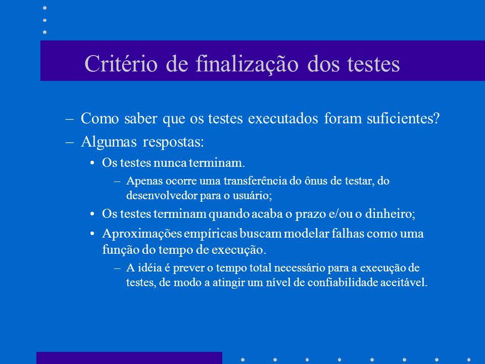 Critério de finalização dos testes
