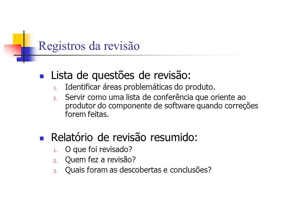 Registros da revisão Lista de questões de revisão: