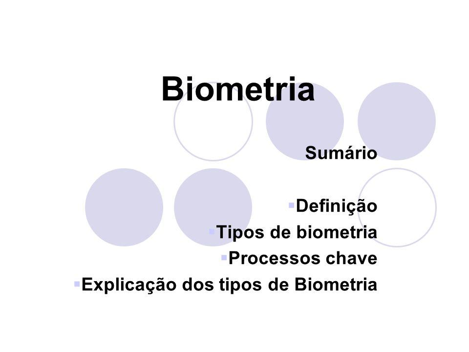 Biometria Sumário Definição Tipos de biometria Processos chave
