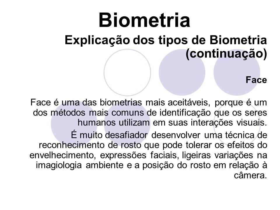 Biometria Explicação dos tipos de Biometria (continuação) Face