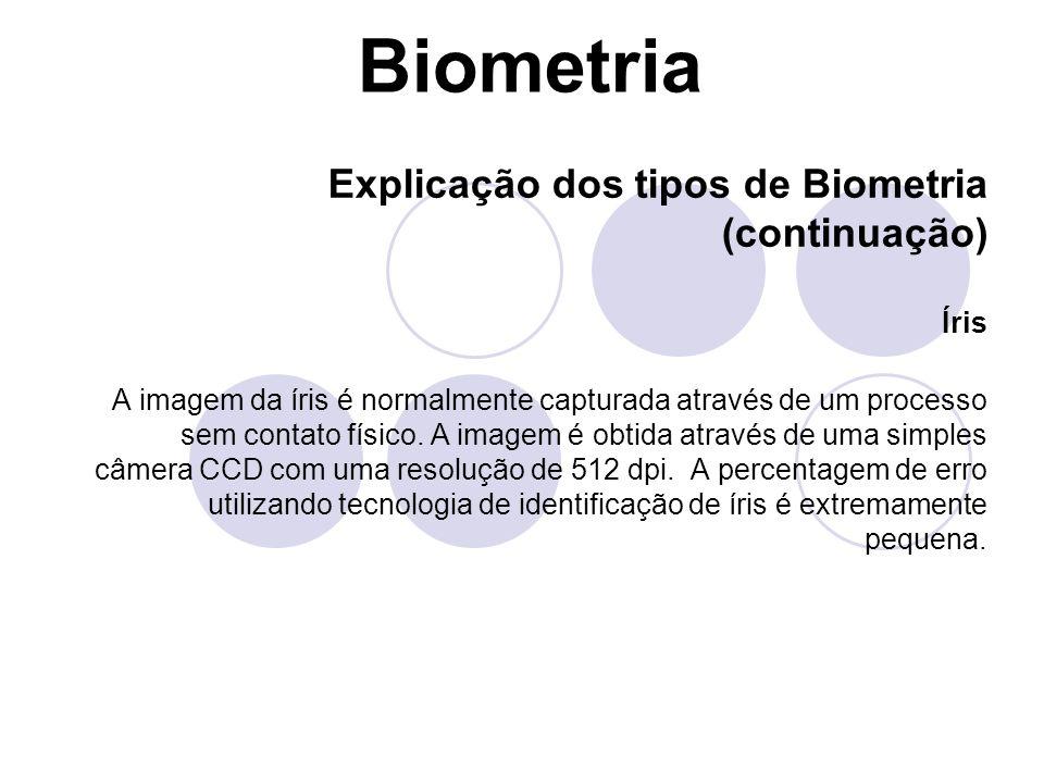 Biometria Explicação dos tipos de Biometria (continuação) Íris