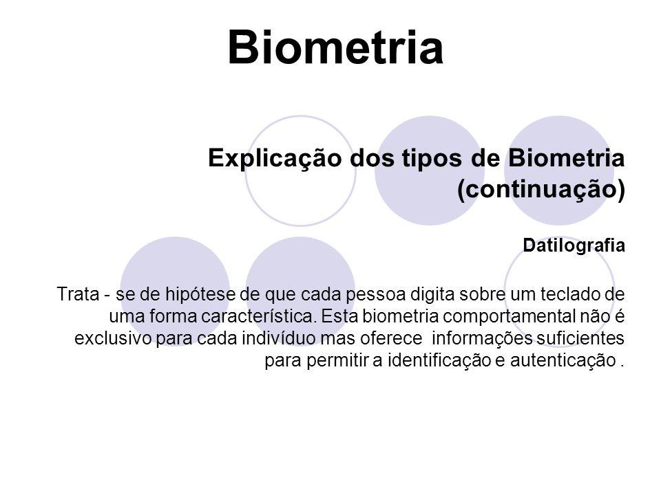 Biometria Explicação dos tipos de Biometria (continuação) Datilografia
