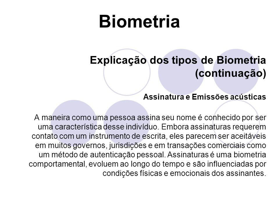 Biometria Explicação dos tipos de Biometria (continuação)