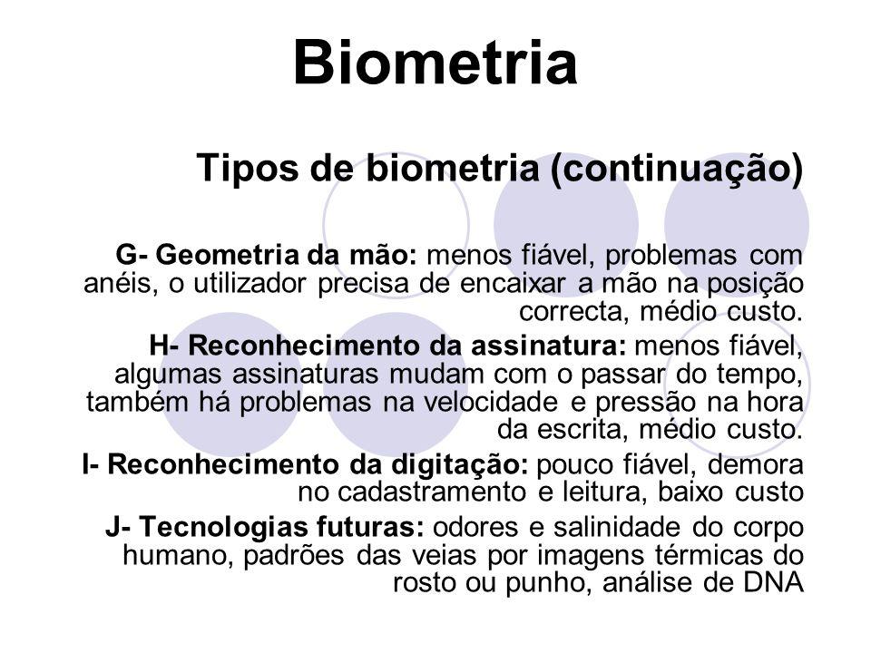Biometria Tipos de biometria (continuação)