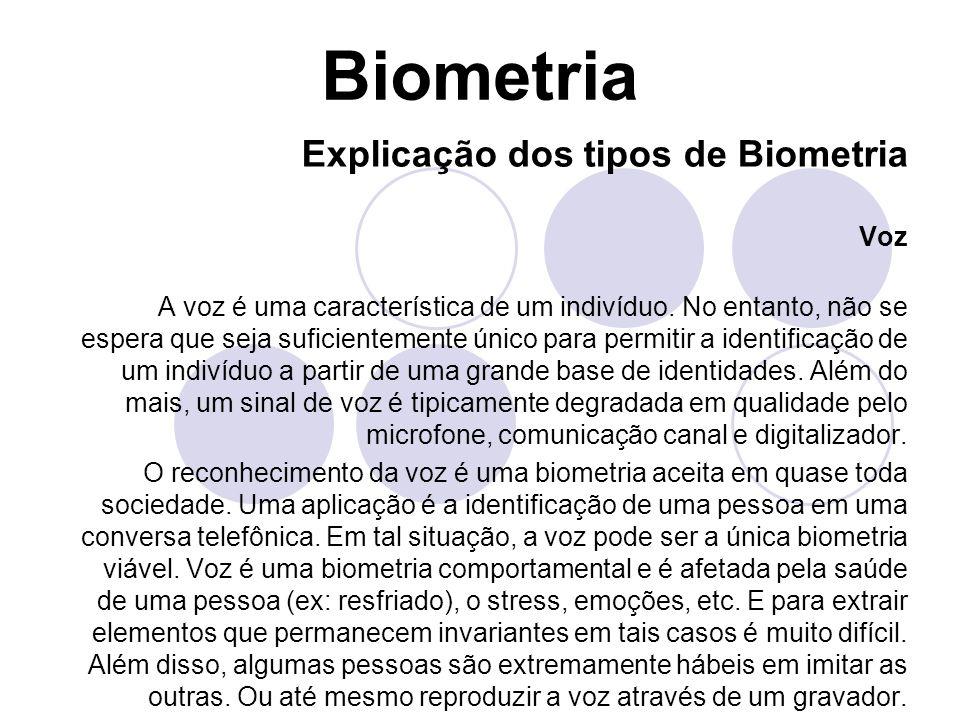 Biometria Explicação dos tipos de Biometria Voz