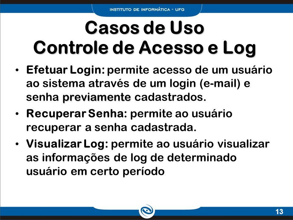 Casos de Uso Controle de Acesso e Log
