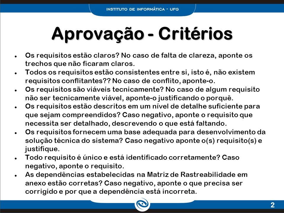 Aprovação - Critérios Os requisitos estão claros No caso de falta de clareza, aponte os trechos que não ficaram claros.